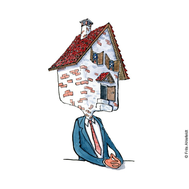 Drawing of a man sitting with his head inside a house. illustration by Frits Ahlefeldt
