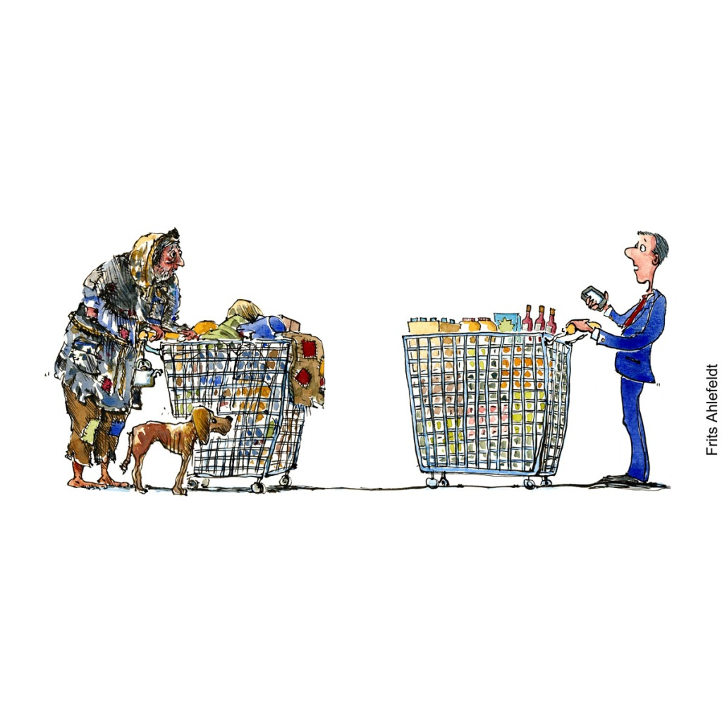 Drawing of a homeless man with all his belongings in a shopping wagon, facing a man with a shopping wagon filled with food. Illustration by Frits Ahlefeldt