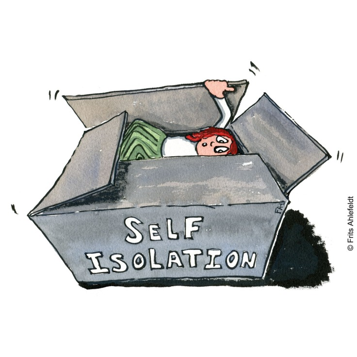 "Drawing of a woman in a box with the text ""self-isolation. Psychology illustration by Frits Ahlefeldt"