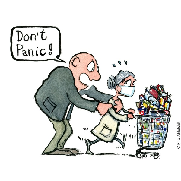 "Drawing of a elderly woman hoarding food and a huge man saying ""don't panic"" Psychology illustration by Frits Ahlefeldt"