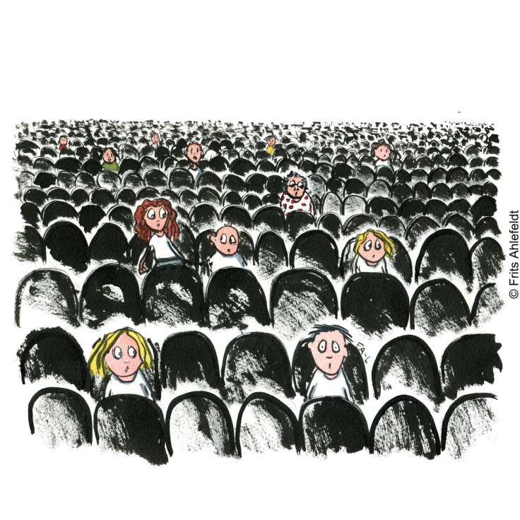 Drawing of people sitting alone as an audience, seats apart. Loneliness and Self-isolation Psychology illustration by Frits Ahlefeldt