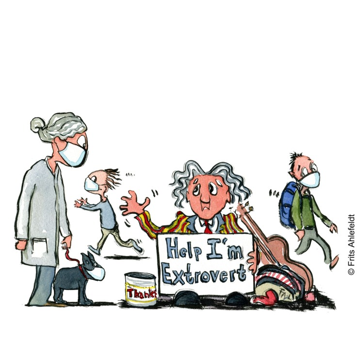 Drawing of an extrovert man begging, surrounded by people with facemasks under self-isolation Psychology illustration by Frits Ahlefeldt