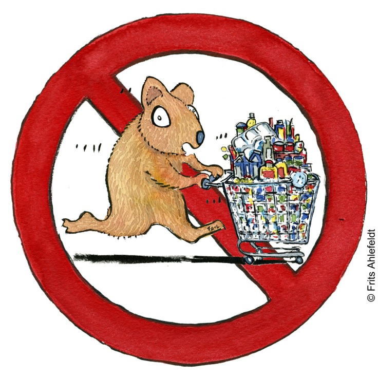 Drawing of a hamster with a chopping trolley, in a stop sign. Psychology illustration by Frits Ahlefeldt