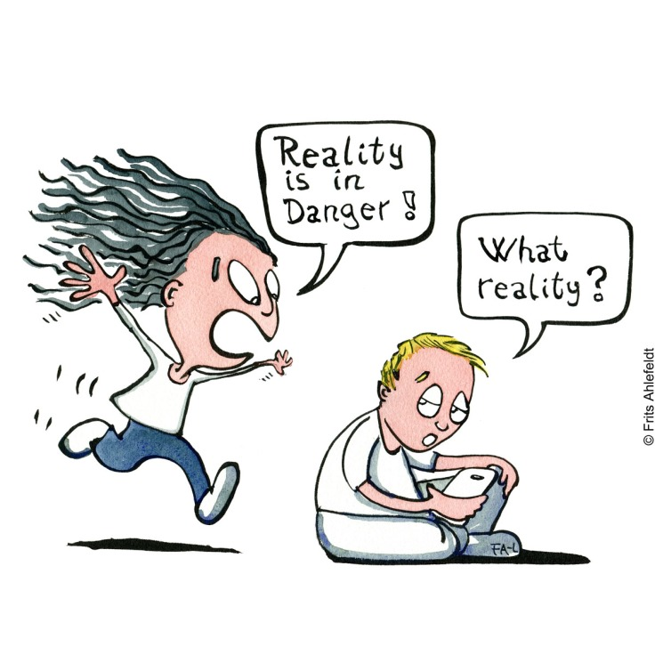 """Drawing of a girl running to a guy saying """"reality is in danger"""" He says: """"What reality?"""" Psychology illustration by Frits Ahlefeldt"""