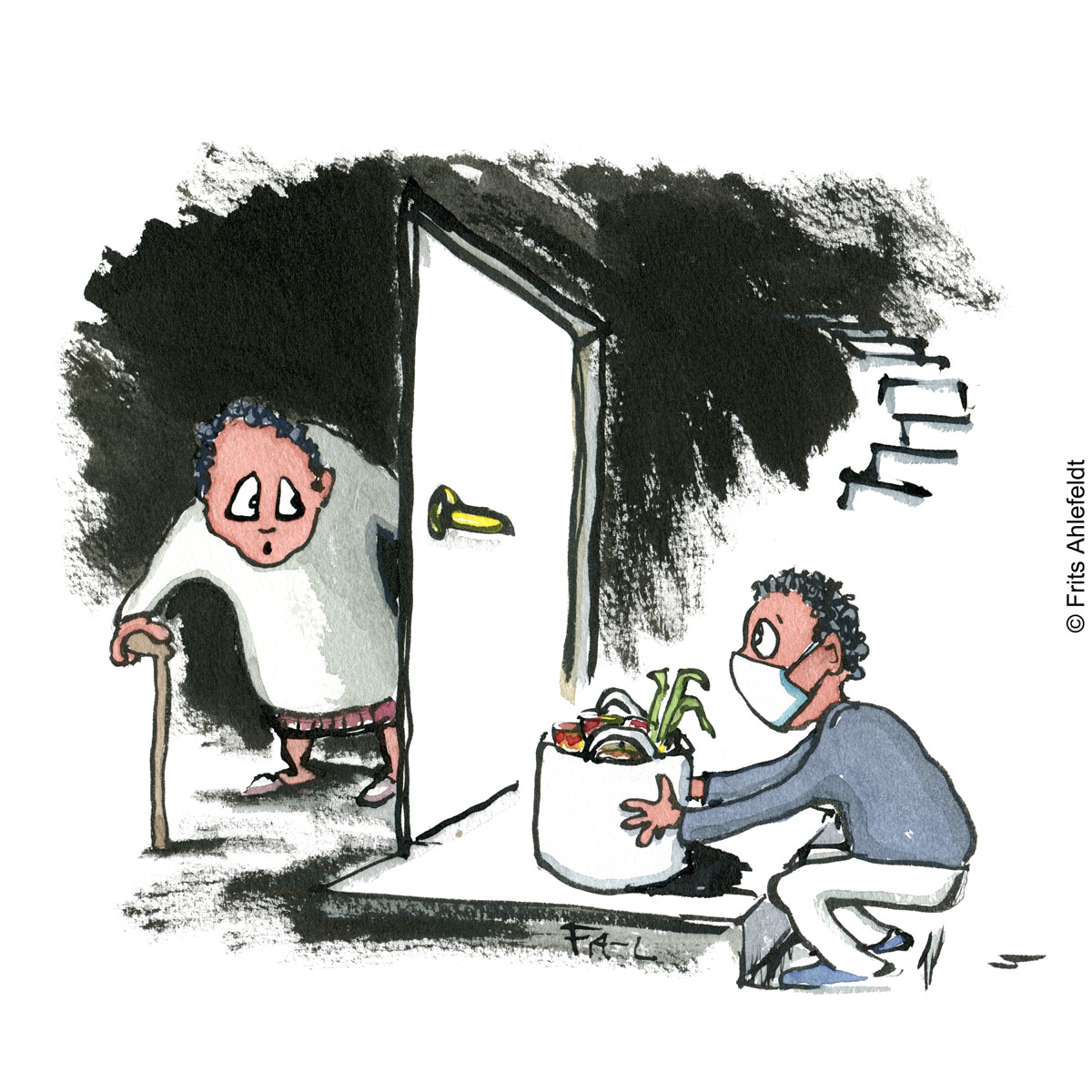 Drawing of an old lady behind a door and a young guy wearing a facemask, placing groceries in front of it. Psychology illustration by Frits Ahlefeldt isololation
