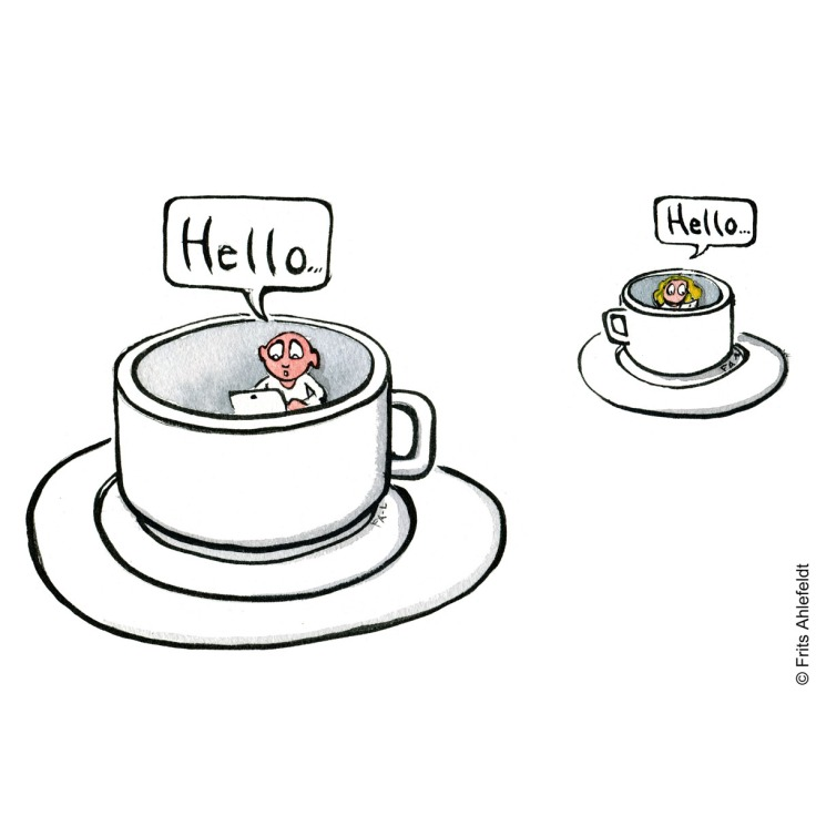 Drawing up people meeting saying hello, self-isolated in coffee cups. Isololation psychology illustration by Frits Ahlefeldt