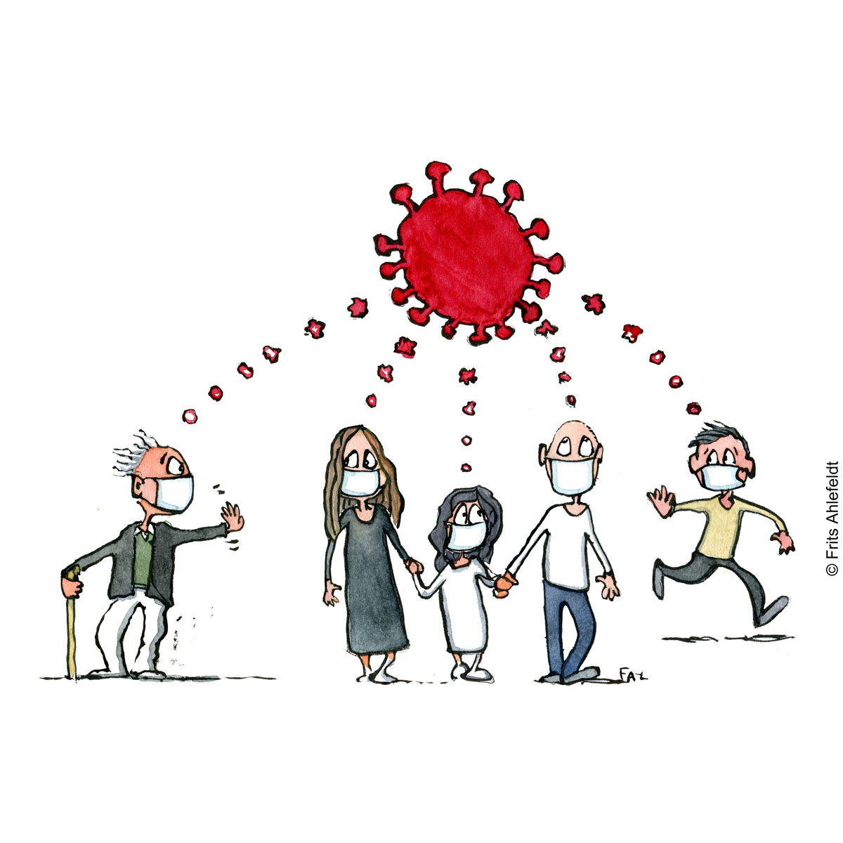 Drawing a group of people all thinking of virus, that becomes one bubble. Psychology illustration by Frits Ahlefeldt