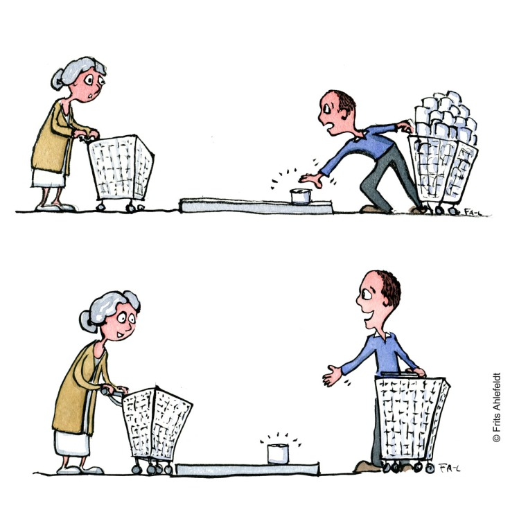 Drawing up two people shopping for toilet paper. upper drawing one takes all. vs. he offers her the last product Psychology illustration by Frits Ahlefeldt