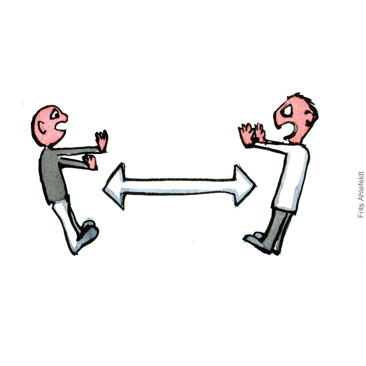 of two people keeping a distance. Isololation prawing Psychology illustration by Frits Ahlefeldt