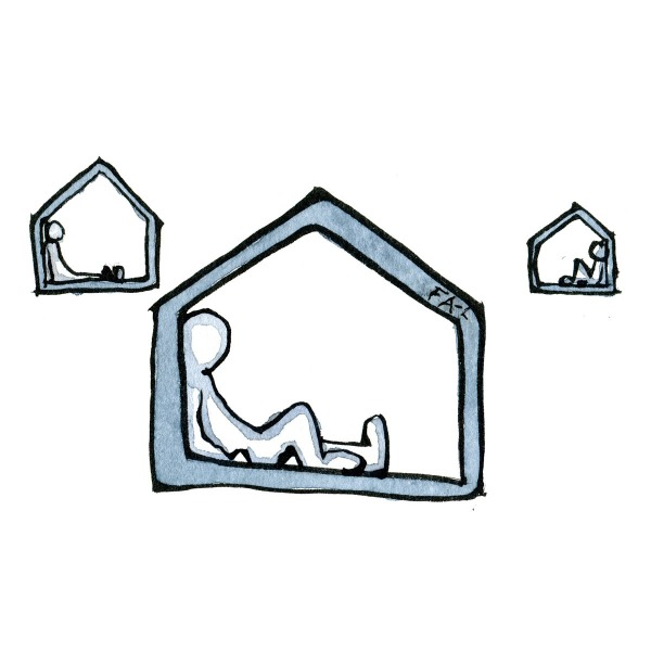 Drawing of people alone in houses in self-isolation. Isololation psychology illustration by Frits Ahlefeldt