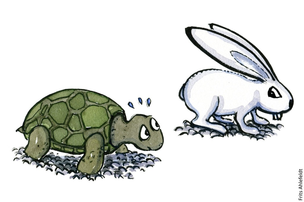 Drawing of a turtle racing a rabbit. Psychology illustration by Frits Ahlefeldt