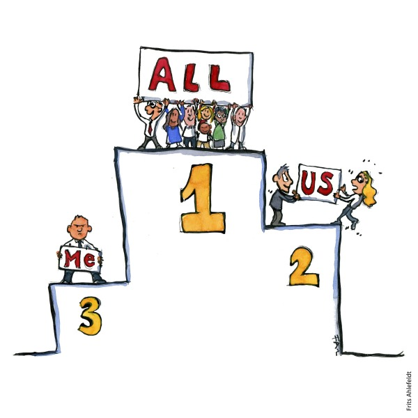 Drawing of a podium with a group on first place, a couple on second and a single person on third. Illustration by Frits Ahlefeldt
