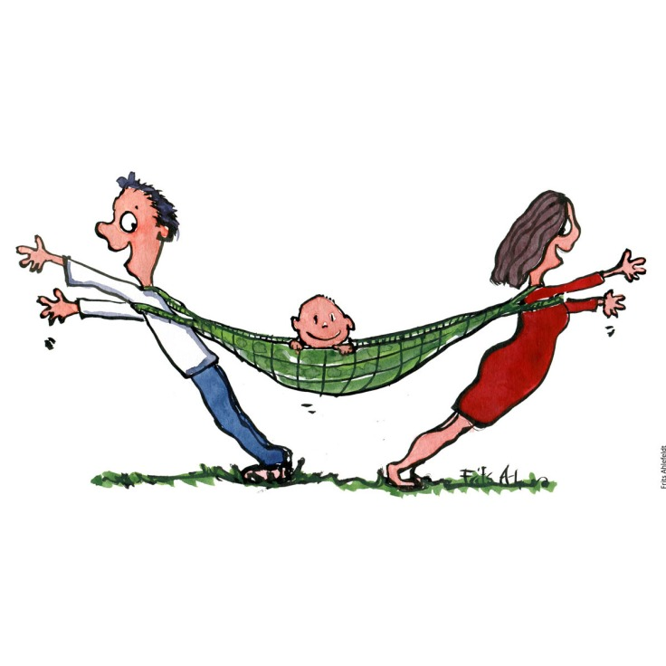 Drawing of a kid in a hammock, with a man and woman at each end. Illustration by Frits Ahlefeldt