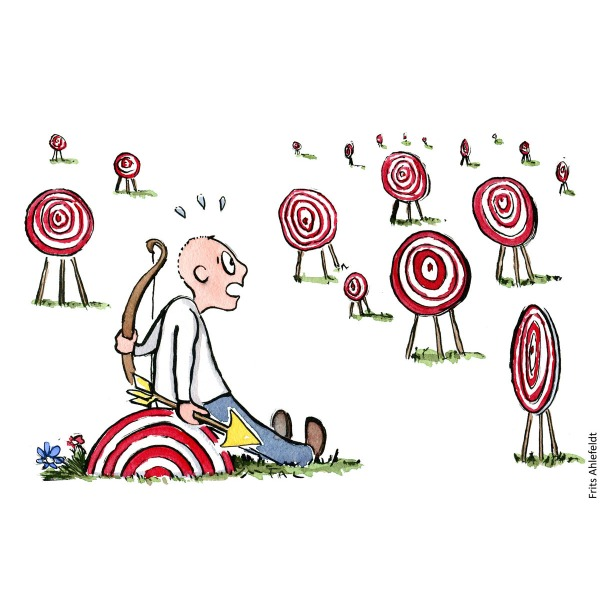Illustration of man sitting on target circle, looking at bullseye target symbols all around him. Psychology drawing by Frits Ahlefeldt