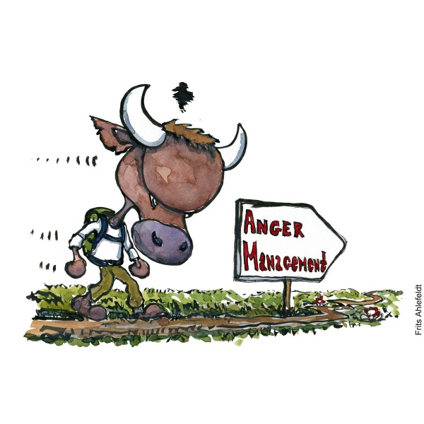 Drawing of an angry bull hiker with backpack walking past a sign saying Anger management. Psychology illustration by Frits Ahlefeldt