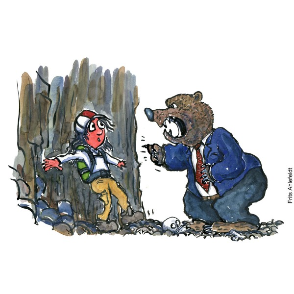Drawing of a man hiker faced by a bear in tie and suit. Psychology illustration by Frits Ahlefeldt