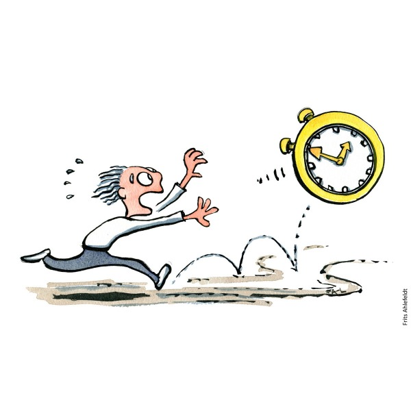 Drawing of a man chasing time as a huge golden clock. Stress Psychology illustration by Frits Ahlefeldt