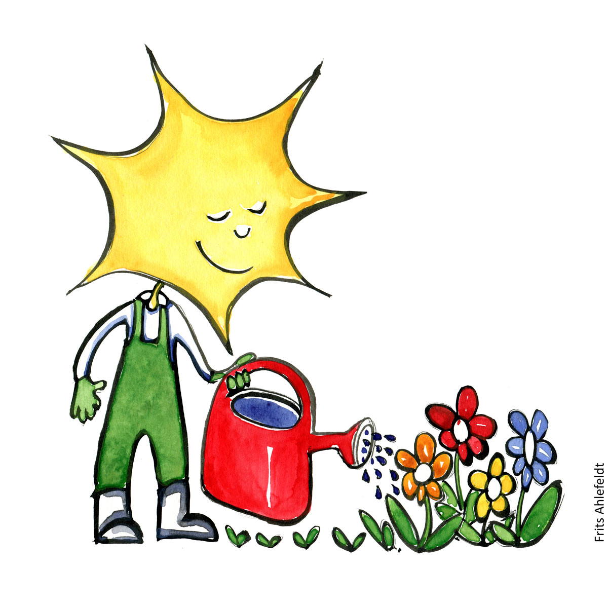 Drawing of a gardener with the sun as head watering flowers. Be the change Psychology illustration by Frits Ahlefeldt