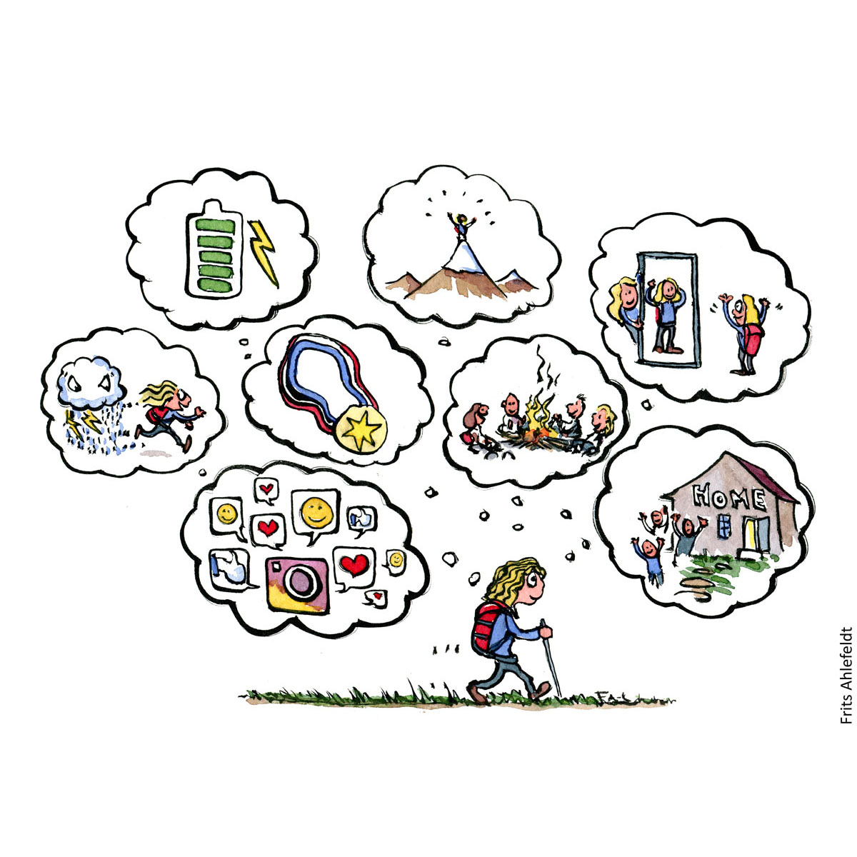 Drawing of hiker walking while thoughts and motivation change. About how our thoughts change all the time. Psychology illustration by Frits Ahlefeldt