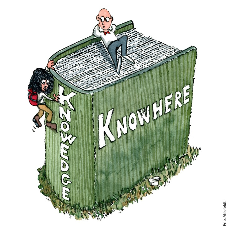 """Drawing of a man sitting on top of a book, with text """"knowhere"""" and girl with backpack climbing the edge with text: """" Knowedge"""" Two kinds of knowledge. Psychology illustration by Frits Ahlefeldt"""