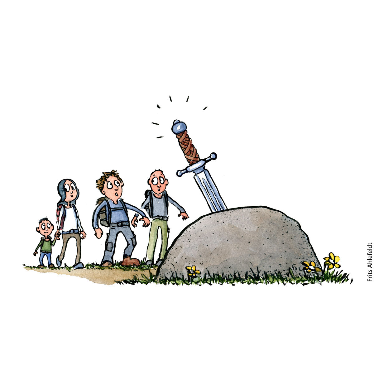 Drawing of hikers approaching sword in stone. Arthur style. excalibur