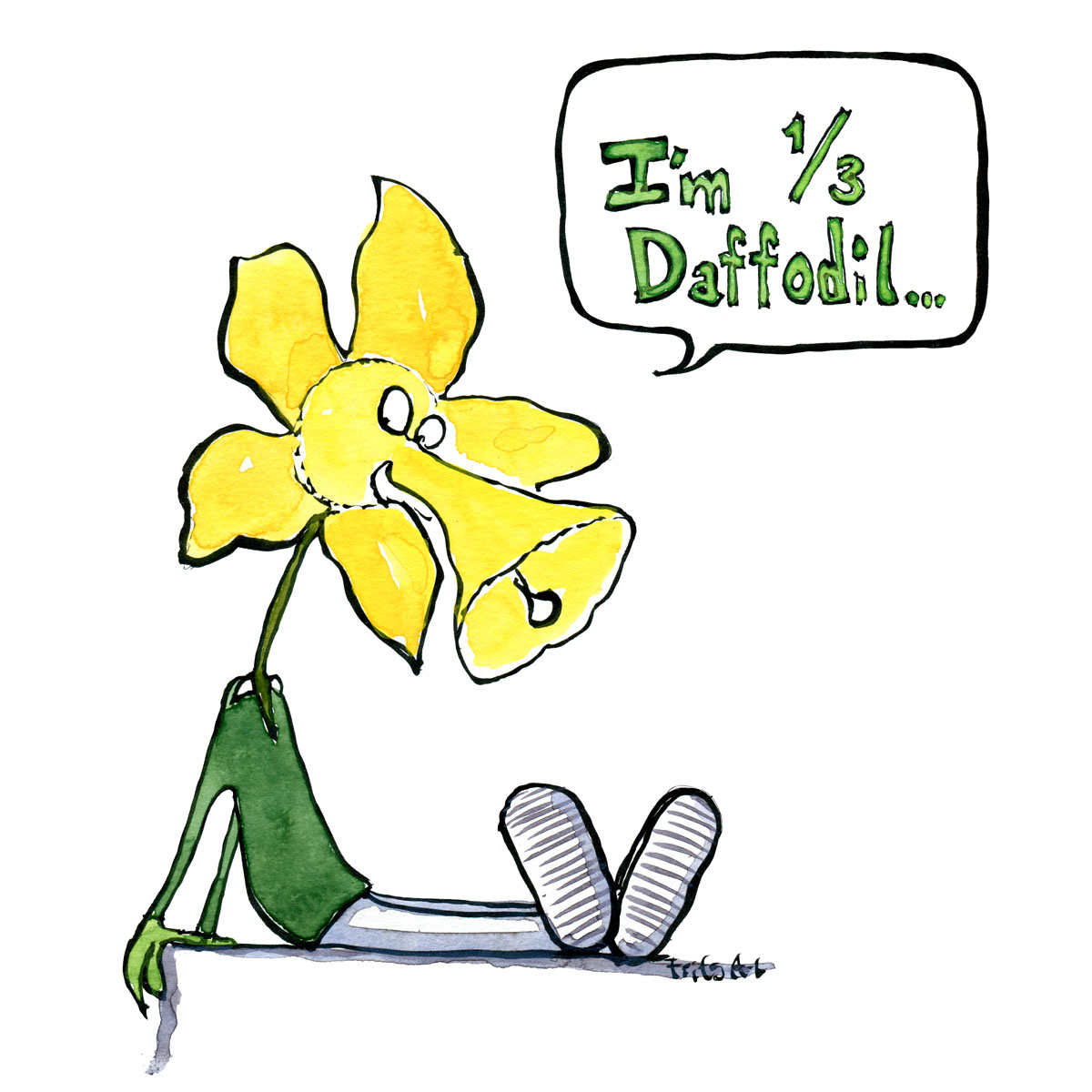 """Drawing of a creature with human body and daffodil head saying """"I'm 1 third daffodil"""" Psychology illustration by Frits Ahlefeldt"""